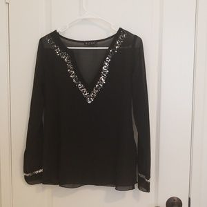 Black and Silver Tunic Blouse